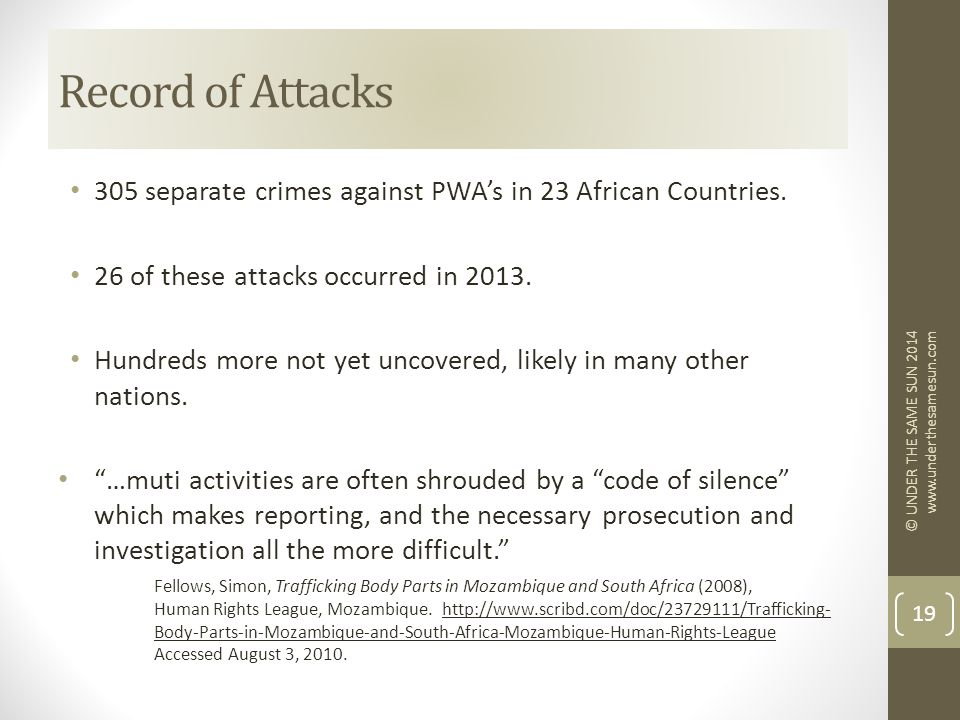 305 separate crimes against PWA's in 23 African Countries.