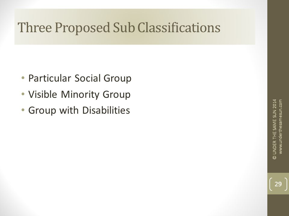 Particular Social Group Visible Minority Group Group with Disabilities Three Proposed Sub Classifications © UNDER THE SAME SUN 2014 www.underthesamesun.com 29