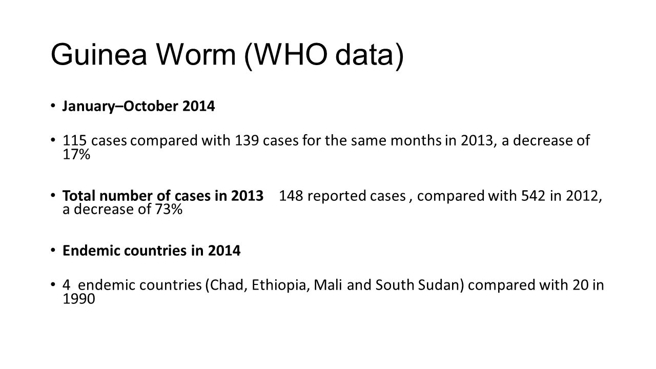 Guinea Worm (WHO data) January–October 2014 115 cases compared with 139 cases for the same months in 2013, a decrease of 17% Total number of cases in