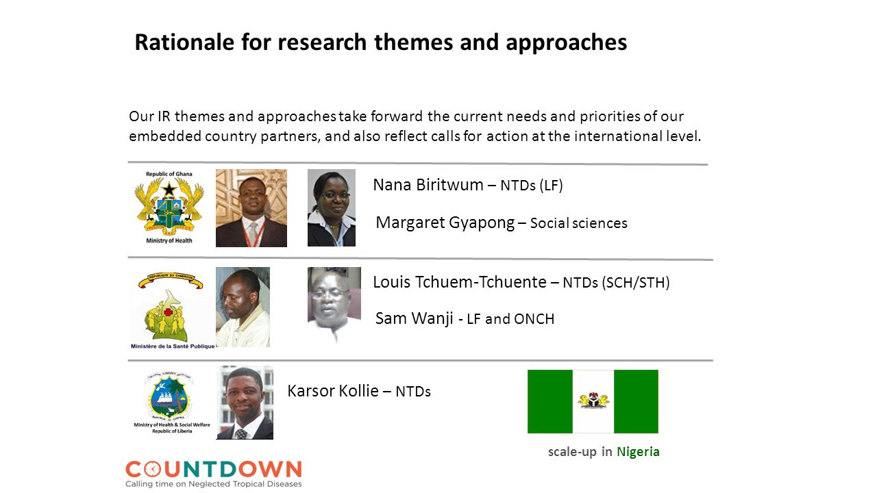 Rationale for research themes and approaches Our IR themes and approaches take forward the current needs and priorities of our embedded country partners, and also reflect calls for action at the international level.