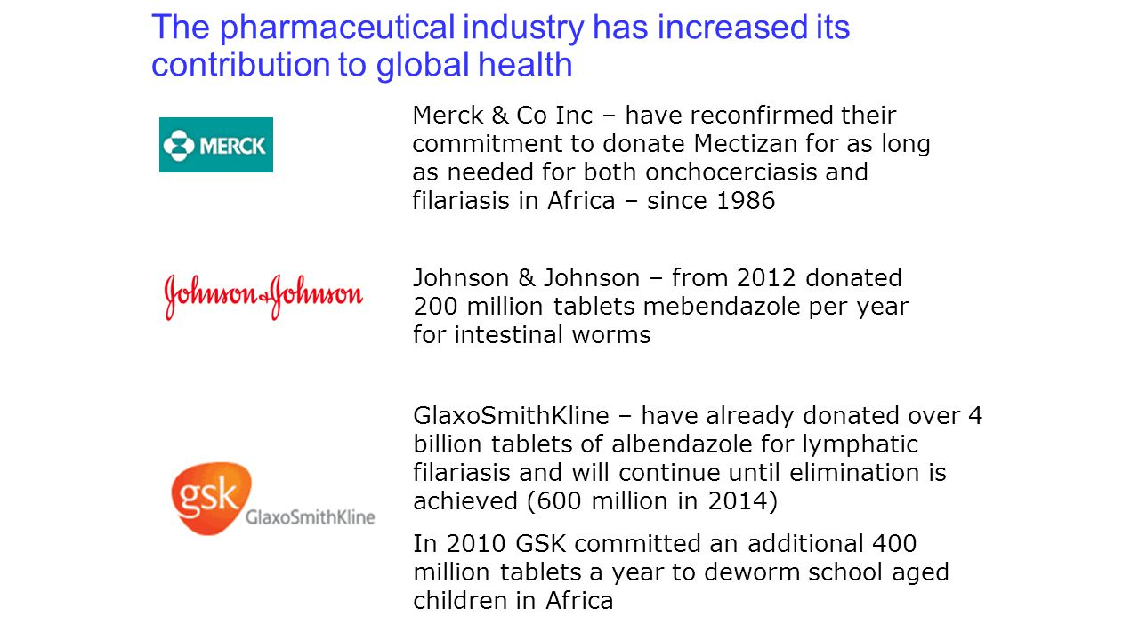 The pharmaceutical industry has increased its contribution to global health GlaxoSmithKline – have already donated over 4 billion tablets of albendazo