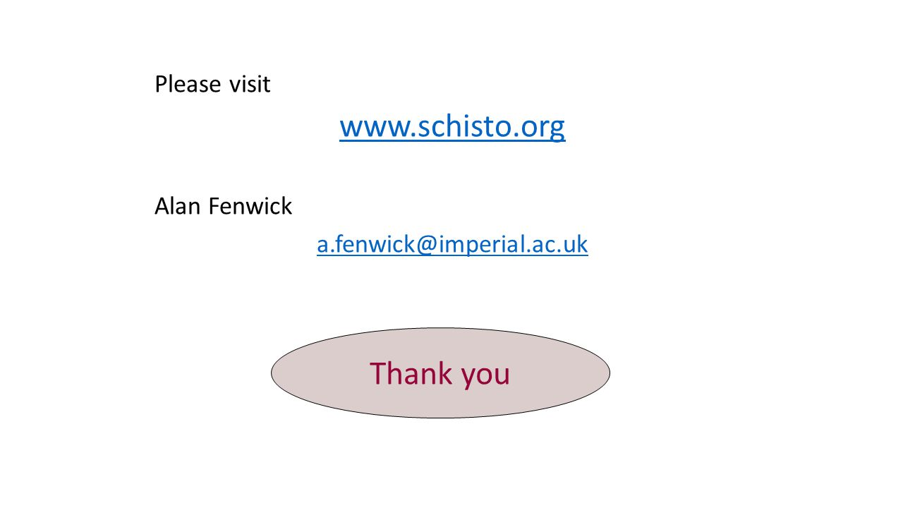 Please visit www.schisto.org Alan Fenwick a.fenwick@imperial.ac.uk Thank you