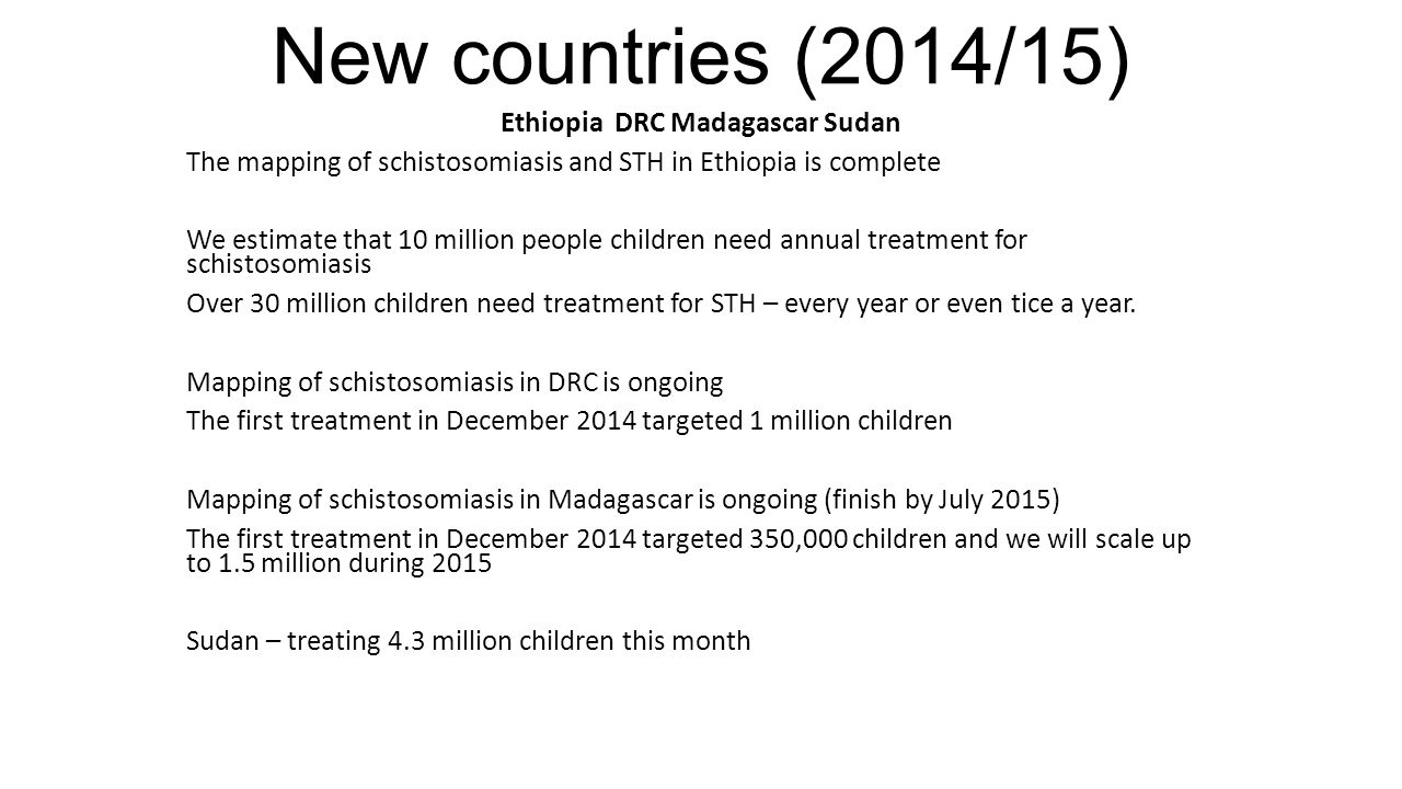 UK Coalition partner activities SIGHTSAVERS: Global number of NTD treatments.