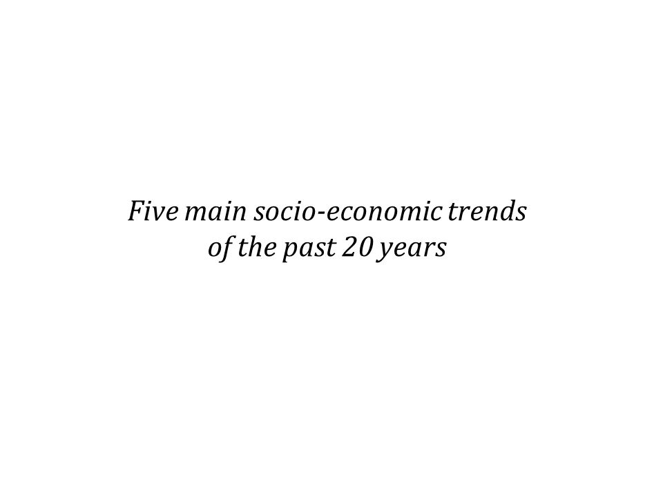 Five main socio-economic trends of the past 20 years