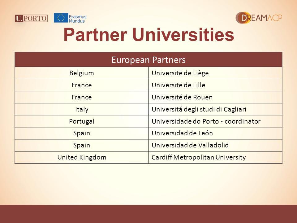 Partner Universities European Partners BelgiumUniversité de Liège FranceUniversité de Lille FranceUniversité de Rouen ItalyUniversitá degli studi di C