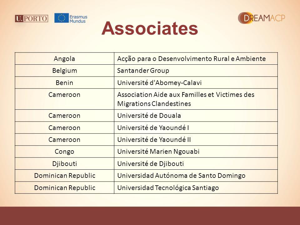 Associates AngolaAcção para o Desenvolvimento Rural e Ambiente BelgiumSantander Group BeninUniversité d'Abomey-Calavi CameroonAssociation Aide aux Fam