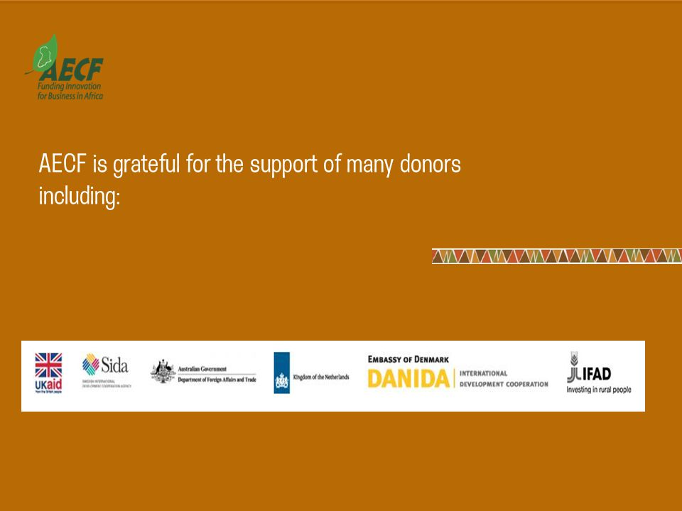 AECF is grateful for the support of many donors including: