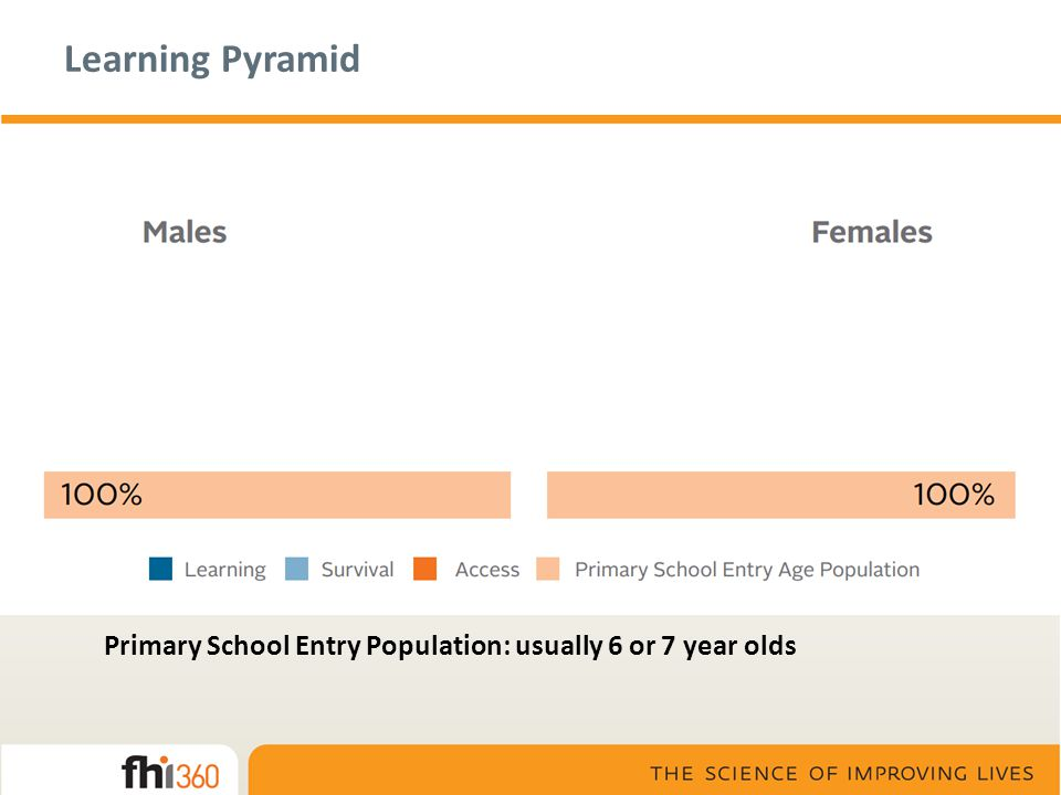 Learning Pyramid Access: 14 year olds who have ever attended school – a generous measure of school participation