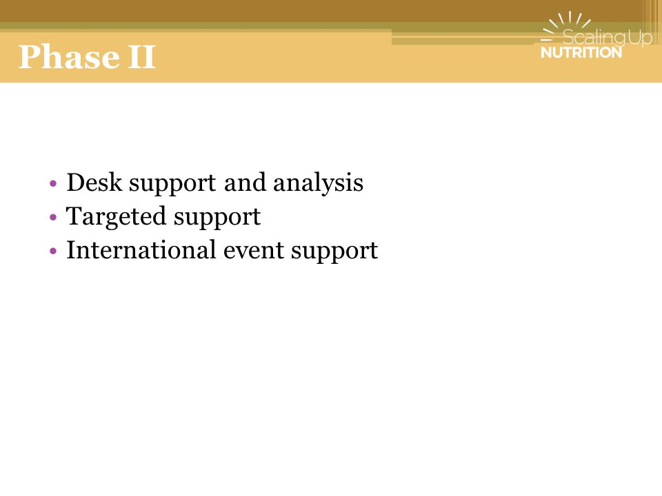 Phase II Desk support and analysis Targeted support International event support