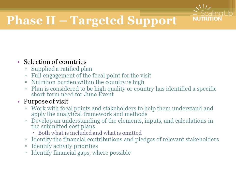 Phase II – Targeted Support Selection of countries ▫Supplied a ratified plan ▫Full engagement of the focal point for the visit ▫Nutrition burden within the country is high ▫Plan is considered to be high quality or country has identified a specific short-term need for June Event Purpose of visit ▫Work with focal points and stakeholders to help them understand and apply the analytical framework and methods ▫Develop an understanding of the elements, inputs, and calculations in the submitted cost plans  Both what is included and what is omitted ▫Identify the financial contributions and pledges of relevant stakeholders ▫Identify activity priorities ▫Identify financial gaps, where possible