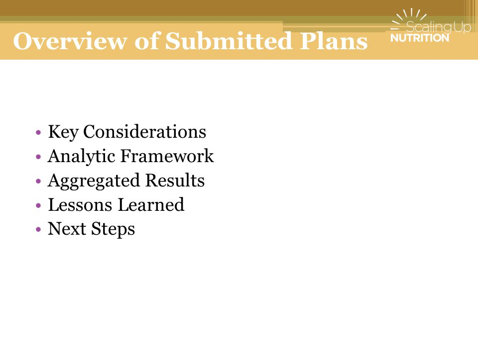 Overview of Submitted Plans Key Considerations Analytic Framework Aggregated Results Lessons Learned Next Steps