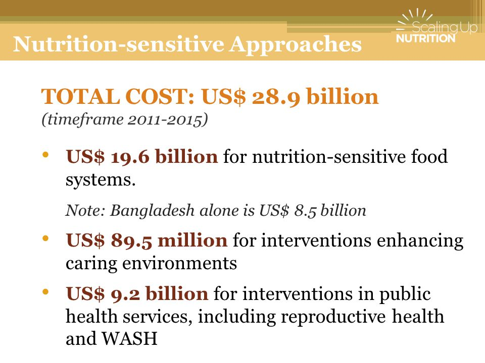 TOTAL COST: US$ 28.9 billion (timeframe 2011-2015) US$ 19.6 billion for nutrition-sensitive food systems. Note: Bangladesh alone is US$ 8.5 billion US