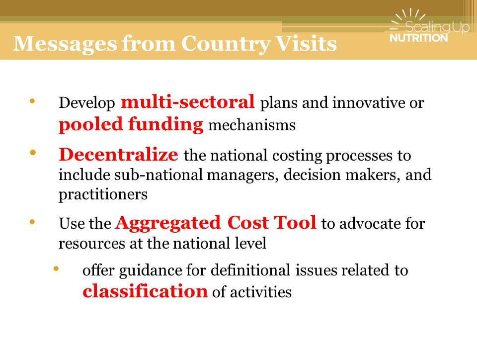 Develop multi-sectoral plans and innovative or pooled funding mechanisms Decentralize the national costing processes to include sub-national managers, decision makers, and practitioners Use the Aggregated Cost Tool to advocate for resources at the national level offer guidance for definitional issues related to classification of activities Messages from Country Visits