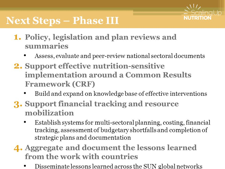 1. Policy, legislation and plan reviews and summaries Assess, evaluate and peer-review national sectoral documents 2. Support effective nutrition-sens