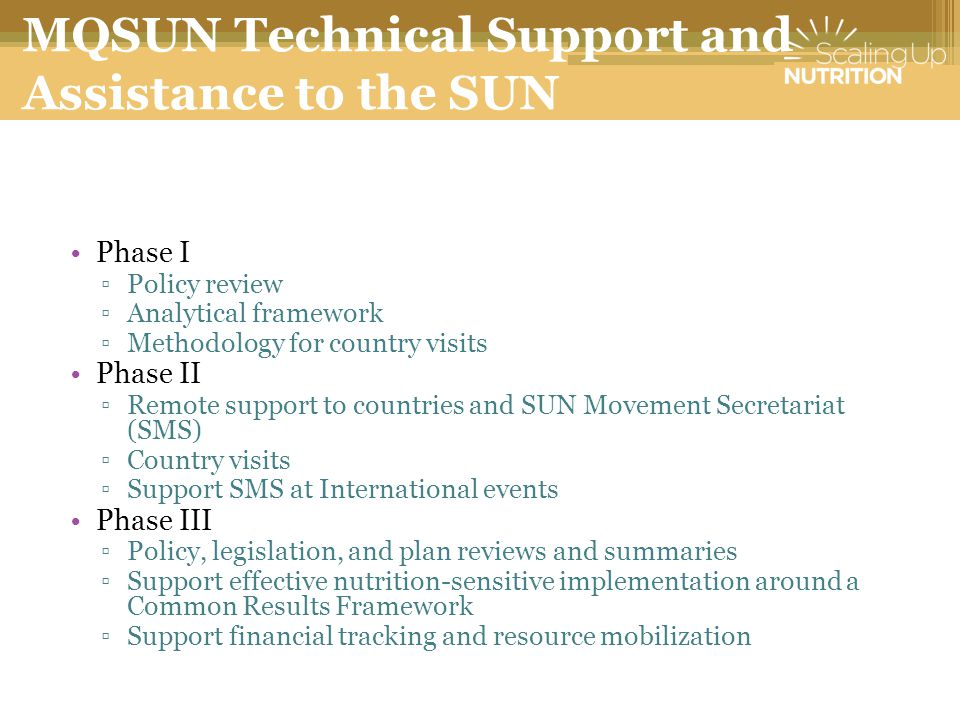 MQSUN Technical Support and Assistance to the SUN Movement Phase I ▫Policy review ▫Analytical framework ▫Methodology for country visits Phase II ▫Remote support to countries and SUN Movement Secretariat (SMS) ▫Country visits ▫Support SMS at International events Phase III ▫Policy, legislation, and plan reviews and summaries ▫Support effective nutrition-sensitive implementation around a Common Results Framework ▫Support financial tracking and resource mobilization