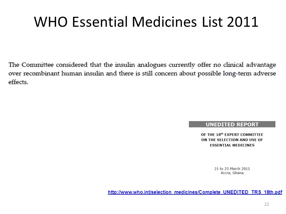 WHO Essential Medicines List 2011 http://www.who.int/selection_medicines/Complete_UNEDITED_TRS_18th.pdf 22