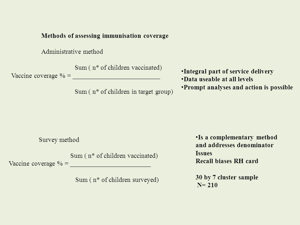 Methods of assessing immunisation coverage Administrative method Sum ( n* of children vaccinated) Vaccine coverage % = __________________________ Sum ( n* of children in target group) Integral part of service delivery Data useable at all levels Prompt analyses and action is possible Survey method Sum ( n* of children vaccinated) Vaccine coverage % = ________________________ Sum ( n* of children surveyed) Is a complementary method and addresses denominator Issues Recall biases RH card 30 by 7 cluster sample N= 210