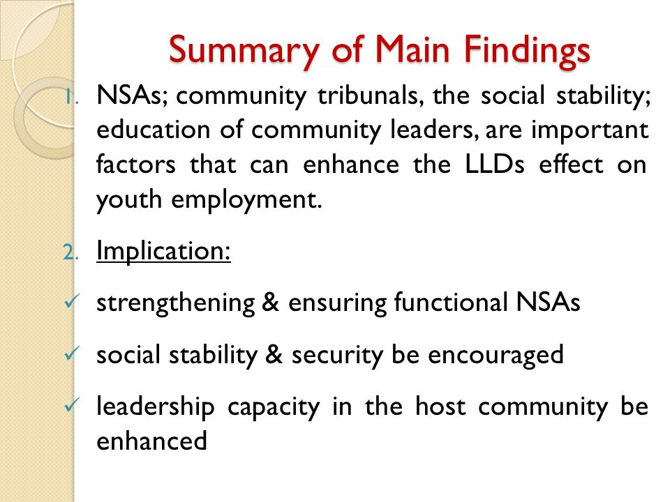 Summary of Main Findings 1.