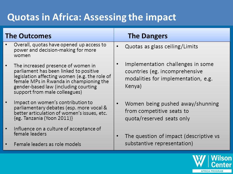 Quotas in Africa-Assessing the impact The Outcomes Overall, quotas have opened up access to power and decision-making for more women The increased presence of women in parliament has been linked to positive legislation affecting women (e.g.