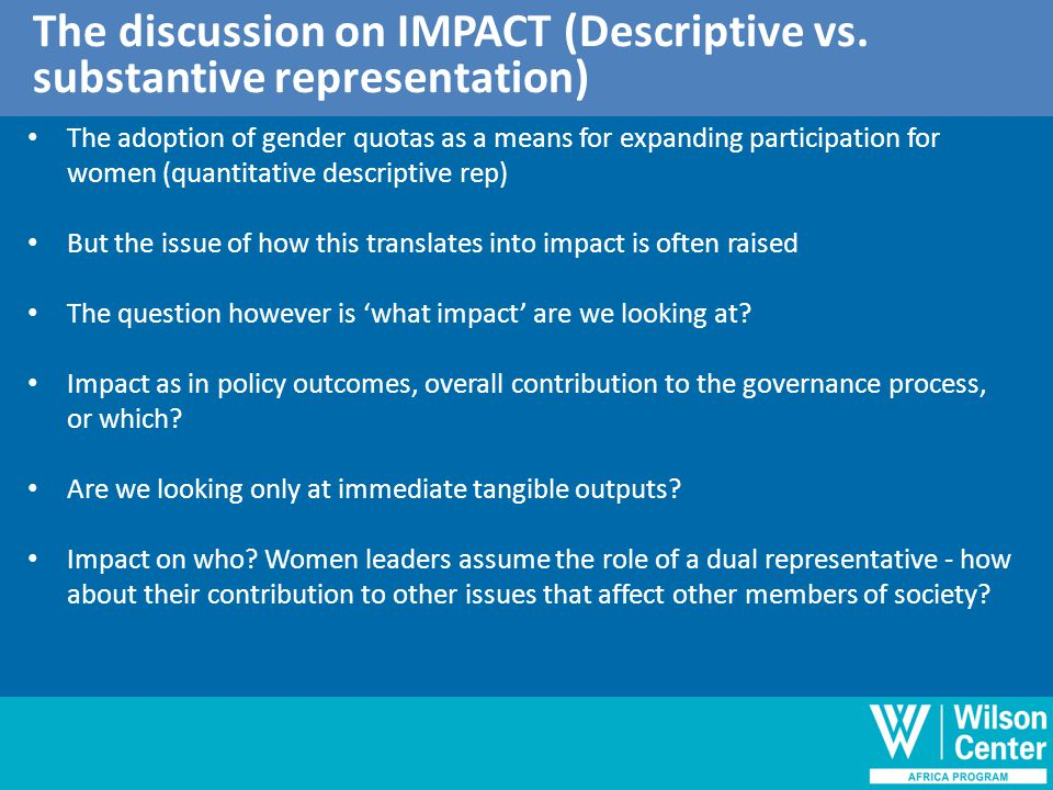 Outline of discussion The discussion on IMPACT (Descriptive vs.
