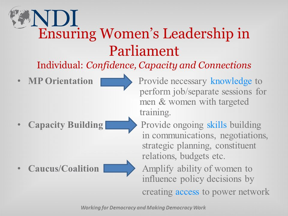 Ensuring Women's Leadership in Parliament Individual: Confidence, Capacity and Connections MP Orientation Provide necessary knowledge to perform job/separate sessions for men & women with targeted training.