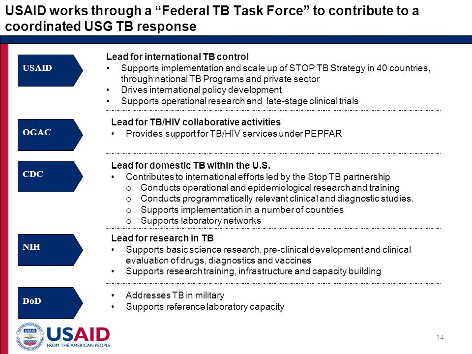 USAID works through a Federal TB Task Force to contribute to a coordinated USG TB response Lead for international TB control Supports implementation and scale up of STOP TB Strategy in 40 countries, through national TB Programs and private sector Drives international policy development Supports operational research and late-stage clinical trials USAID OGAC Lead for TB/HIV collaborative activities Provides support for TB/HIV services under PEPFAR CDC Lead for domestic TB within the U.S.