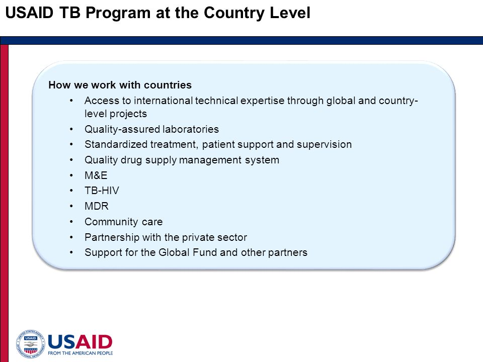 USAID TB Program at the Country Level How we work with countries Access to international technical expertise through global and country- level projects Quality-assured laboratories Standardized treatment, patient support and supervision Quality drug supply management system M&E TB-HIV MDR Community care Partnership with the private sector Support for the Global Fund and other partners