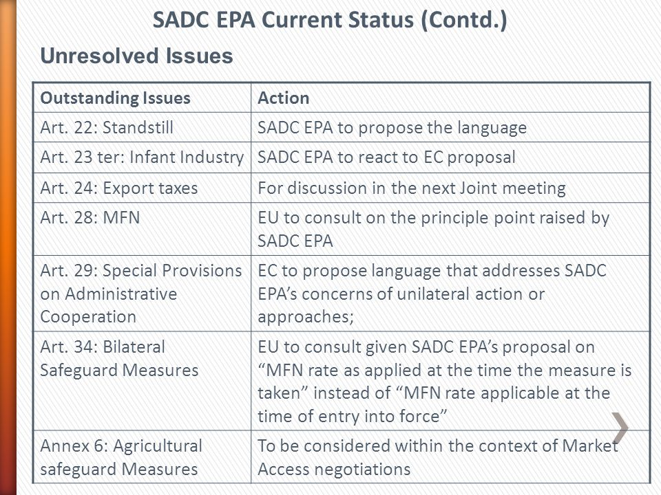 Unresolved Issues SADC EPA Current Status (Contd.) Outstanding IssuesAction Art.