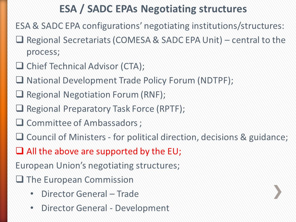 ESA & SADC EPA configurations' negotiating institutions/structures:  Regional Secretariats (COMESA & SADC EPA Unit) – central to the process;  Chief Technical Advisor (CTA);  National Development Trade Policy Forum (NDTPF);  Regional Negotiation Forum (RNF);  Regional Preparatory Task Force (RPTF);  Committee of Ambassadors ;  Council of Ministers - for political direction, decisions & guidance;  All the above are supported by the EU; European Union's negotiating structures;  The European Commission Director General – Trade Director General - Development ESA / SADC EPAs Negotiating structures