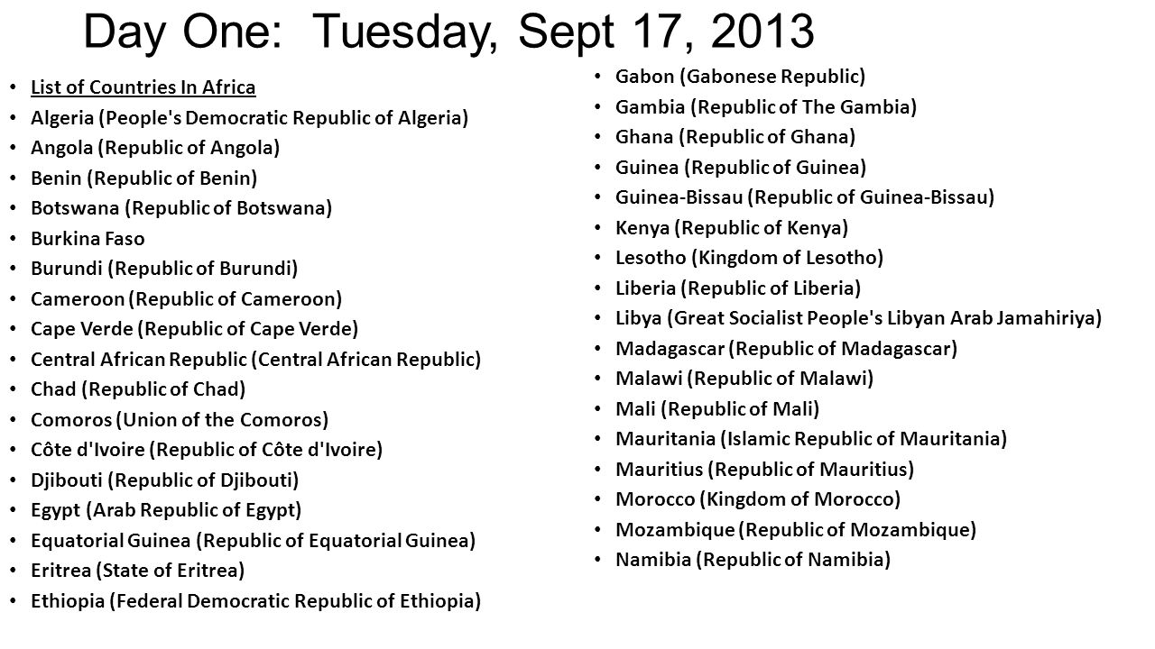 Day One: Tuesday, Sept 17, 2013 List of Countries In Africa Algeria (People's Democratic Republic of Algeria) Angola (Republic of Angola) Benin (Repub