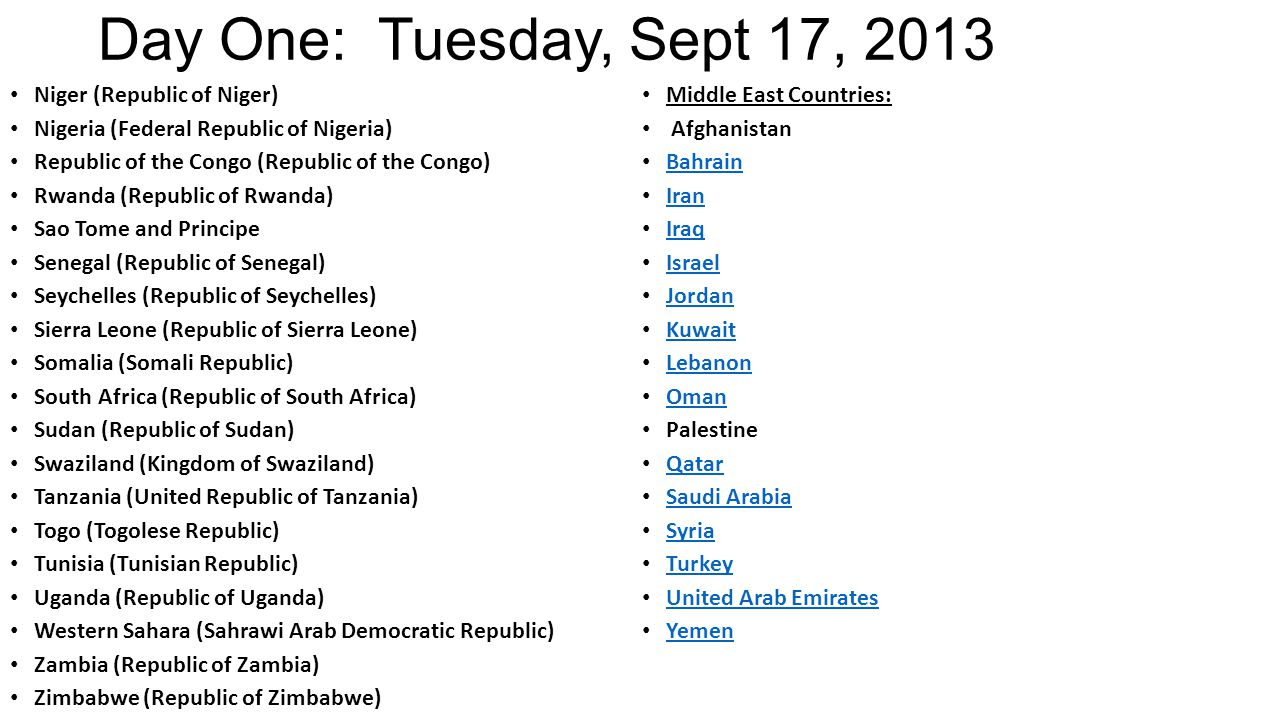 Day One: Tuesday, Sept 17, 2013 Niger (Republic of Niger) Nigeria (Federal Republic of Nigeria) Republic of the Congo (Republic of the Congo) Rwanda (