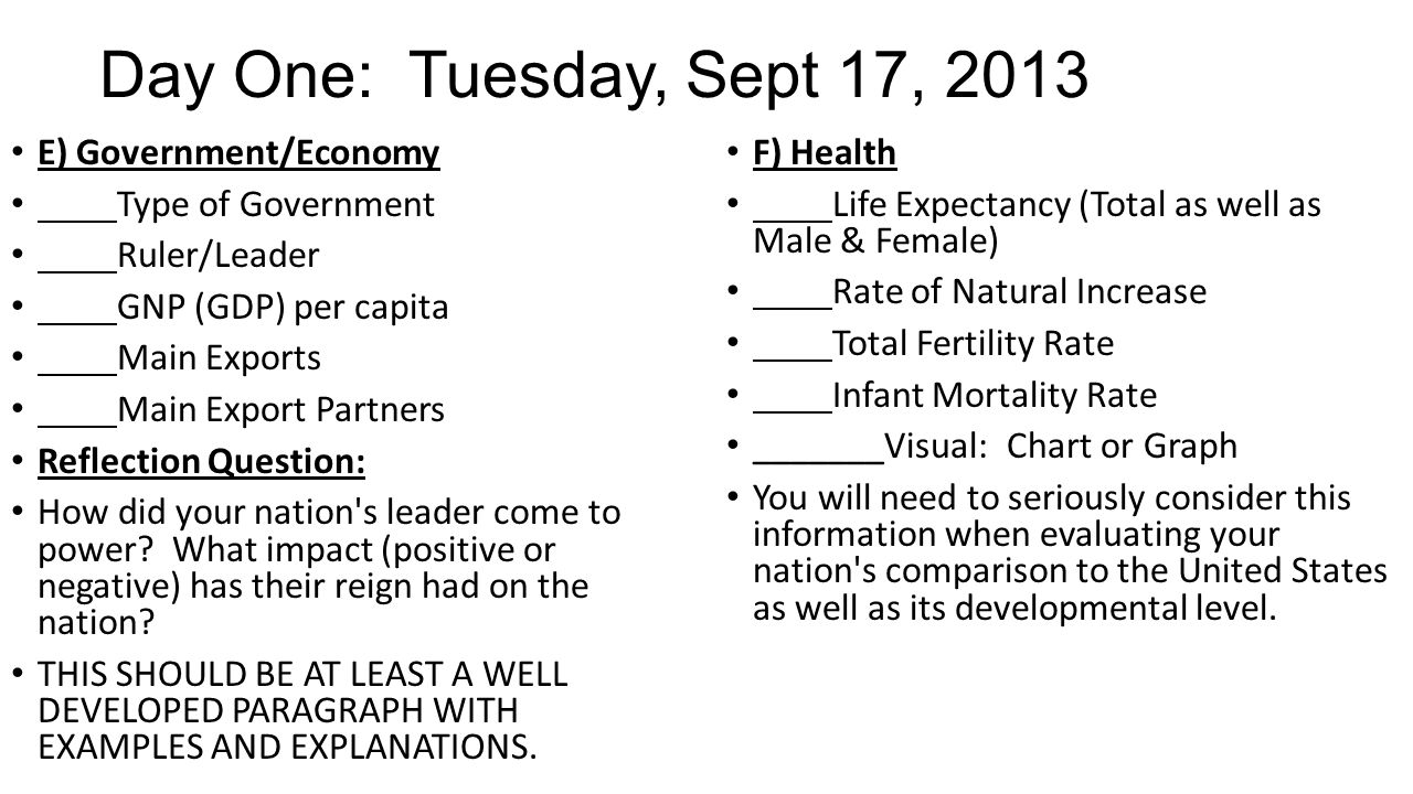 Day One: Tuesday, Sept 17, 2013 E) Government/Economy Type of Government Ruler/Leader GNP (GDP) per capita Main Exports Main Export Partners Reflection Question: How did your nation s leader come to power.
