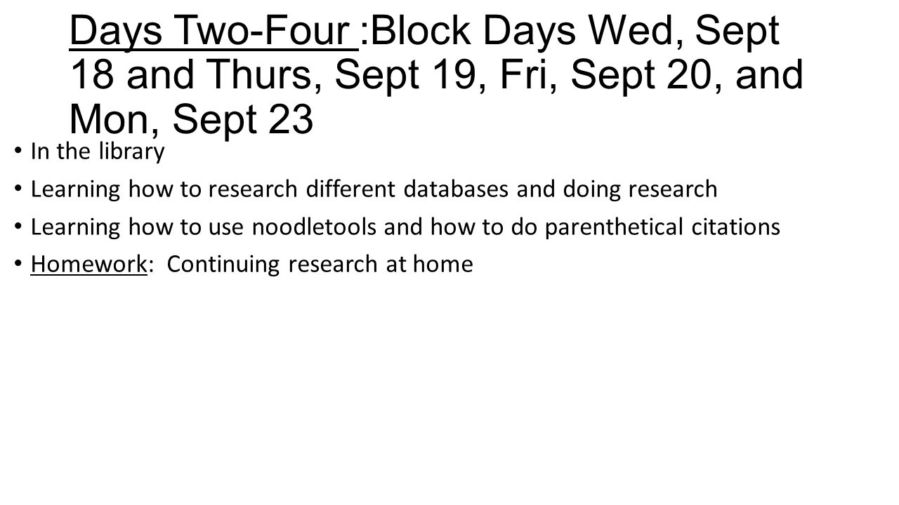 Days Two-Four :Block Days Wed, Sept 18 and Thurs, Sept 19, Fri, Sept 20, and Mon, Sept 23 In the library Learning how to research different databases and doing research Learning how to use noodletools and how to do parenthetical citations Homework: Continuing research at home