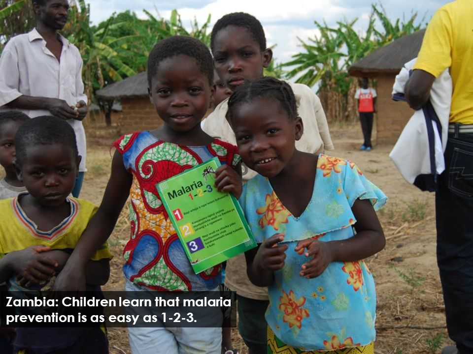 Zambia: Children learn that malaria prevention is as easy as 1-2-3.