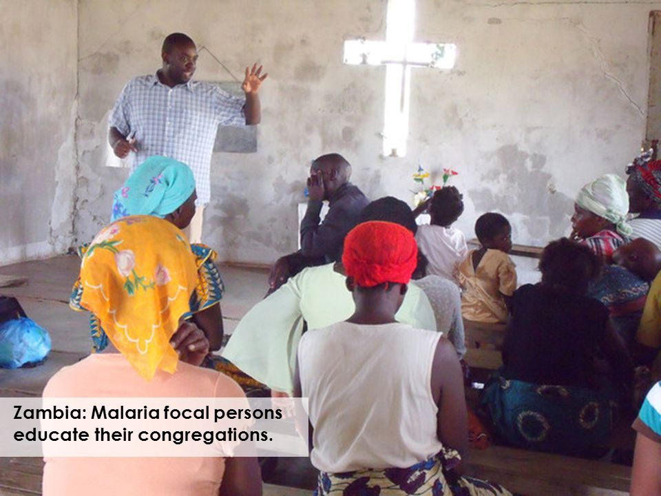 Zambia: Malaria focal persons educate their congregations.