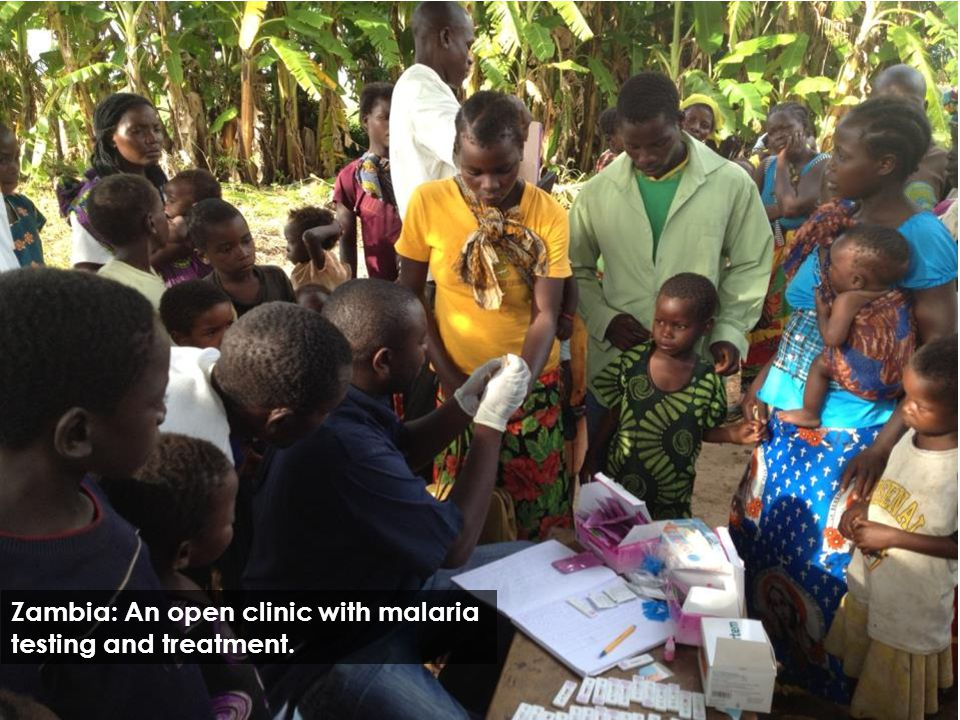 Zambia: An open clinic with malaria testing and treatment.