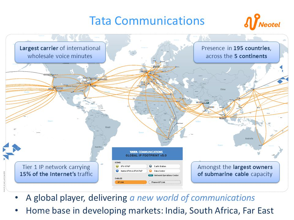 Tier 1 Internet in South Africa Latencies to destinations globally are minimised by using shortest fibre routes to create mesh network