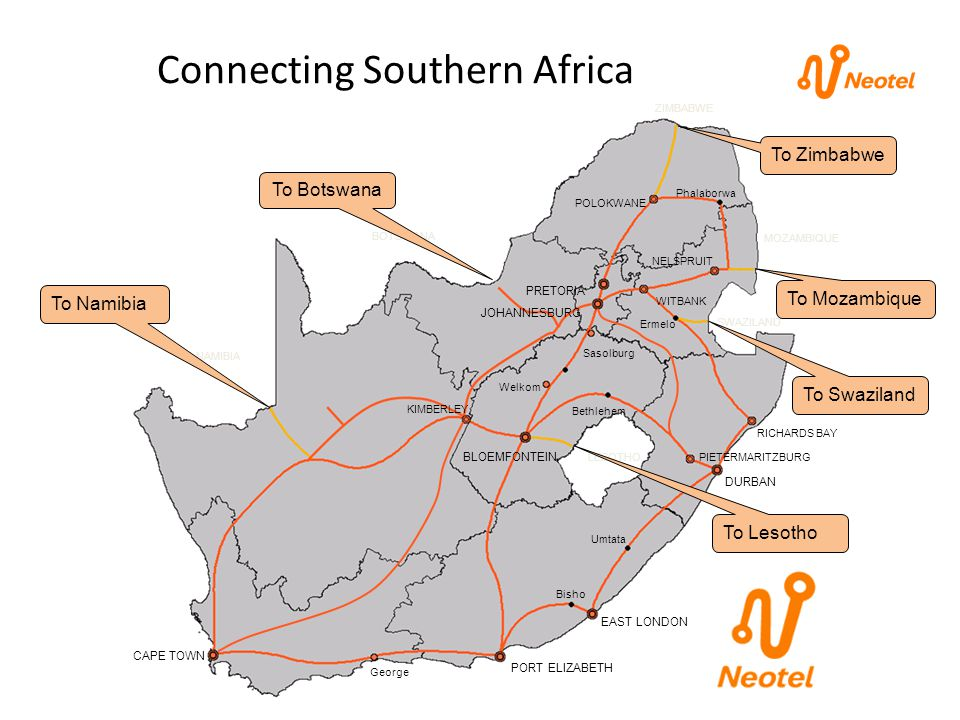 Connecting Southern Africa BLOEMFONTEIN PRETORIA PORT ELIZABETH DURBAN CAPE TOWN JOHANNESBURG POLOKWANE NELSPRUIT WITBANK RICHARDS BAY KIMBERLEY Georg