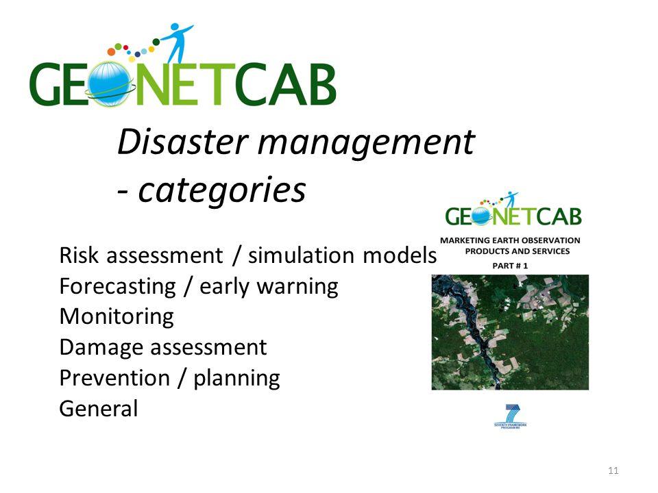 Disaster management - categories Risk assessment / simulation models Forecasting / early warning Monitoring Damage assessment Prevention / planning General 11