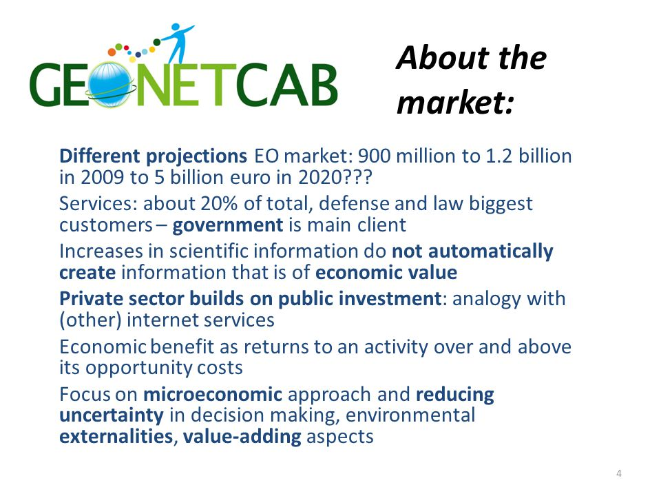 About the market: Different projections EO market: 900 million to 1.2 billion in 2009 to 5 billion euro in 2020 .