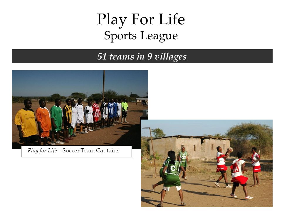 Play For Life Sports League 51 teams in 9 villages Play for Life – Soccer Team Captains