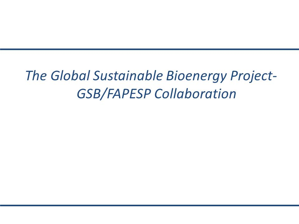 The Global Sustainable Bioenergy Project- GSB/FAPESP Collaboration