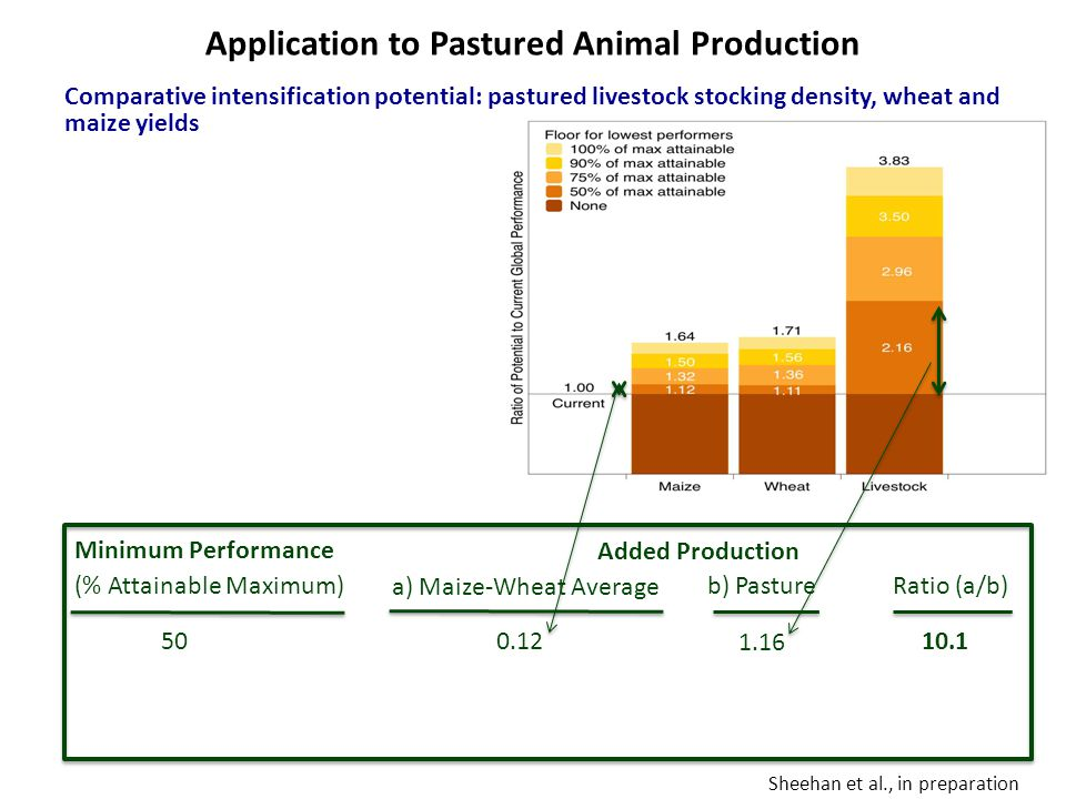 Sheehan et al., in preparation Minimum Performance (% Attainable Maximum) 50 Added Production a) Maize-Wheat Average 0.12 b) Pasture 1.16 Ratio (a/b) 10.1 Application to Pastured Animal Production Comparative intensification potential: pastured livestock stocking density, wheat and maize yields