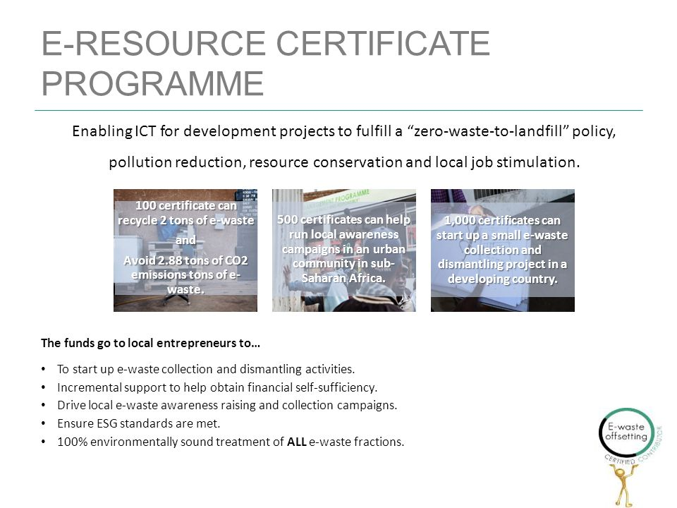 E-RESOURCE CERTIFICATE PROGRAMME 100 certificate can recycle 2 tons of e-waste and Avoid 2.88 tons of CO2 emissions tons of e- waste.
