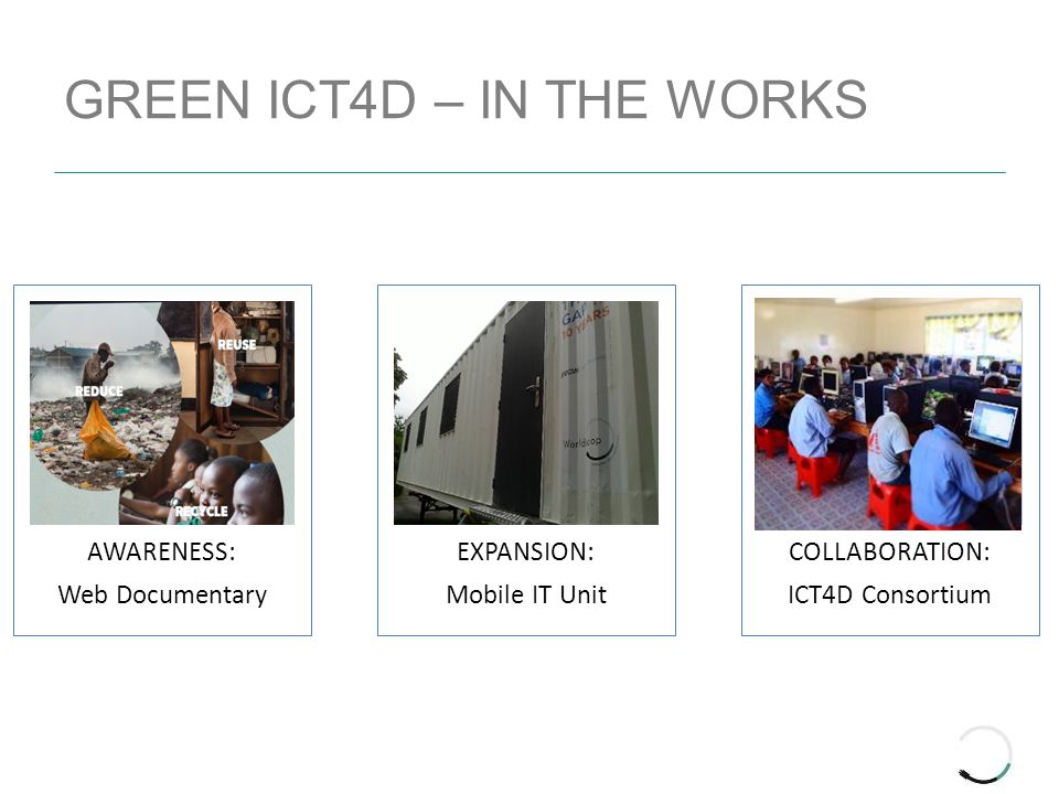 GREEN ICT4D – IN THE WORKS AWARENESS: Web Documentary EXPANSION: Mobile IT Unit COLLABORATION: ICT4D Consortium
