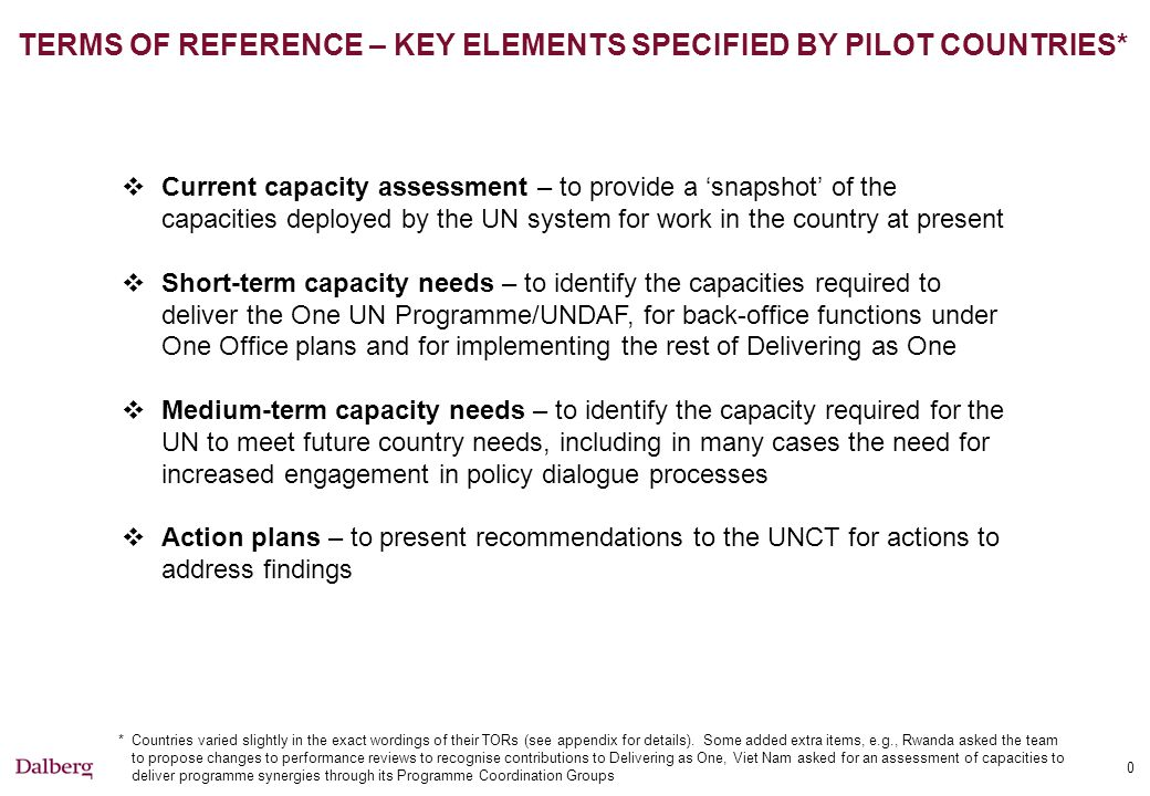 0 TERMS OF REFERENCE – KEY ELEMENTS SPECIFIED BY PILOT COUNTRIES*  Current capacity assessment – to provide a 'snapshot' of the capacities deployed by the UN system for work in the country at present  Short-term capacity needs – to identify the capacities required to deliver the One UN Programme/UNDAF, for back-office functions under One Office plans and for implementing the rest of Delivering as One  Medium-term capacity needs – to identify the capacity required for the UN to meet future country needs, including in many cases the need for increased engagement in policy dialogue processes  Action plans – to present recommendations to the UNCT for actions to address findings *Countries varied slightly in the exact wordings of their TORs (see appendix for details).