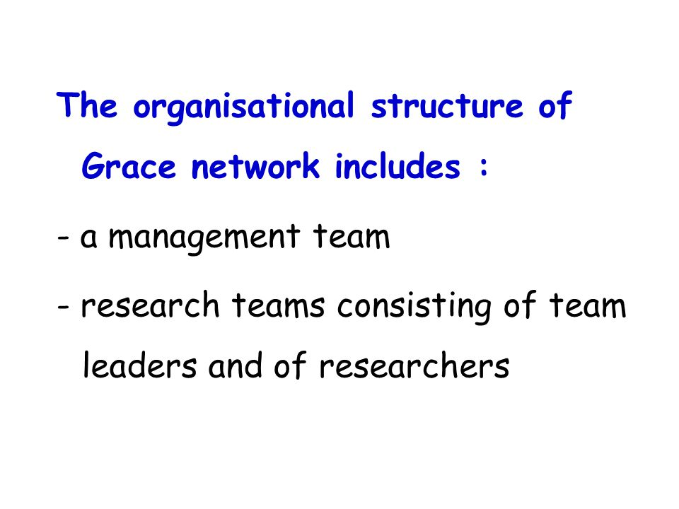 The organisational structure of Grace network includes : - a management team - research teams consisting of team leaders and of researchers