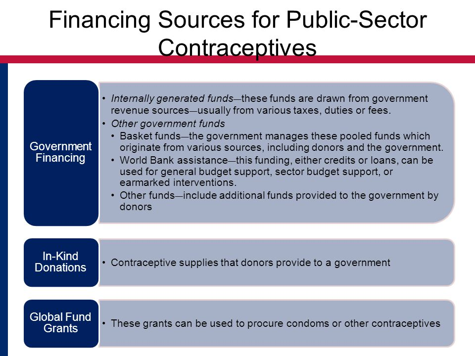 Financing Sources for Public-Sector Contraceptives Internally generated funds ― these funds are drawn from government revenue sources ― usually from various taxes, duties or fees.