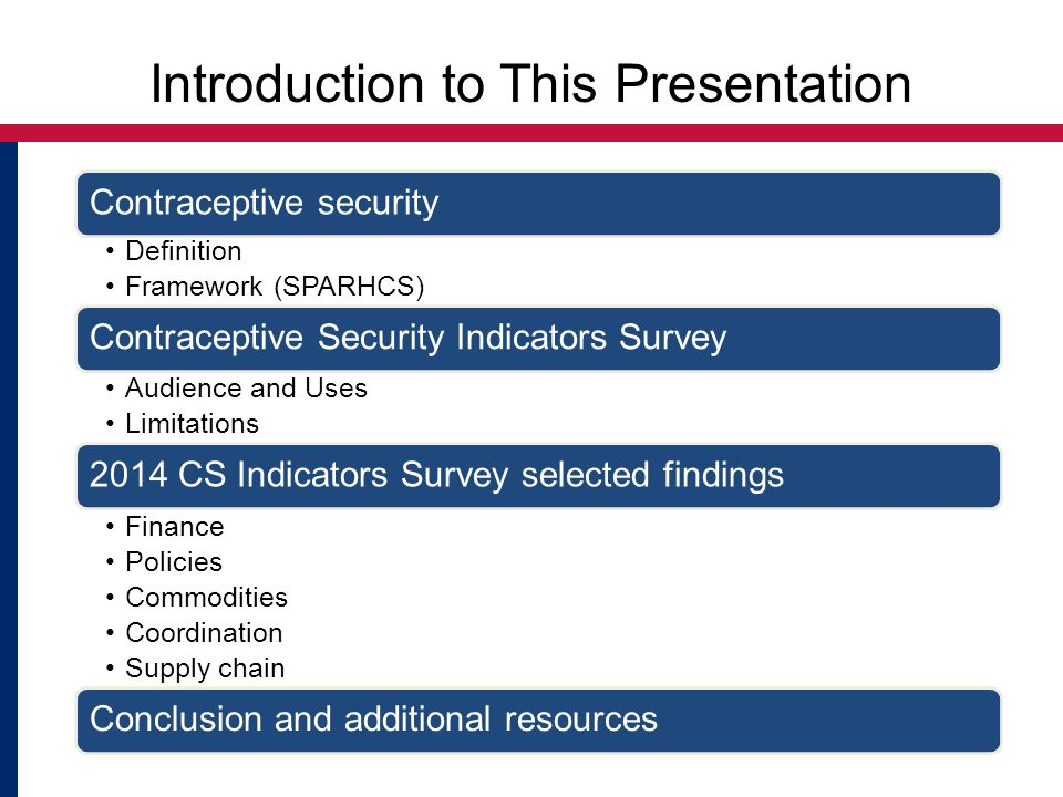 Introduction to This Presentation Contraceptive security Definition Framework (SPARHCS) Contraceptive Security Indicators Survey Audience and Uses Limitations 2014 CS Indicators Survey selected findings Finance Policies Commodities Coordination Supply chain Conclusion and additional resources