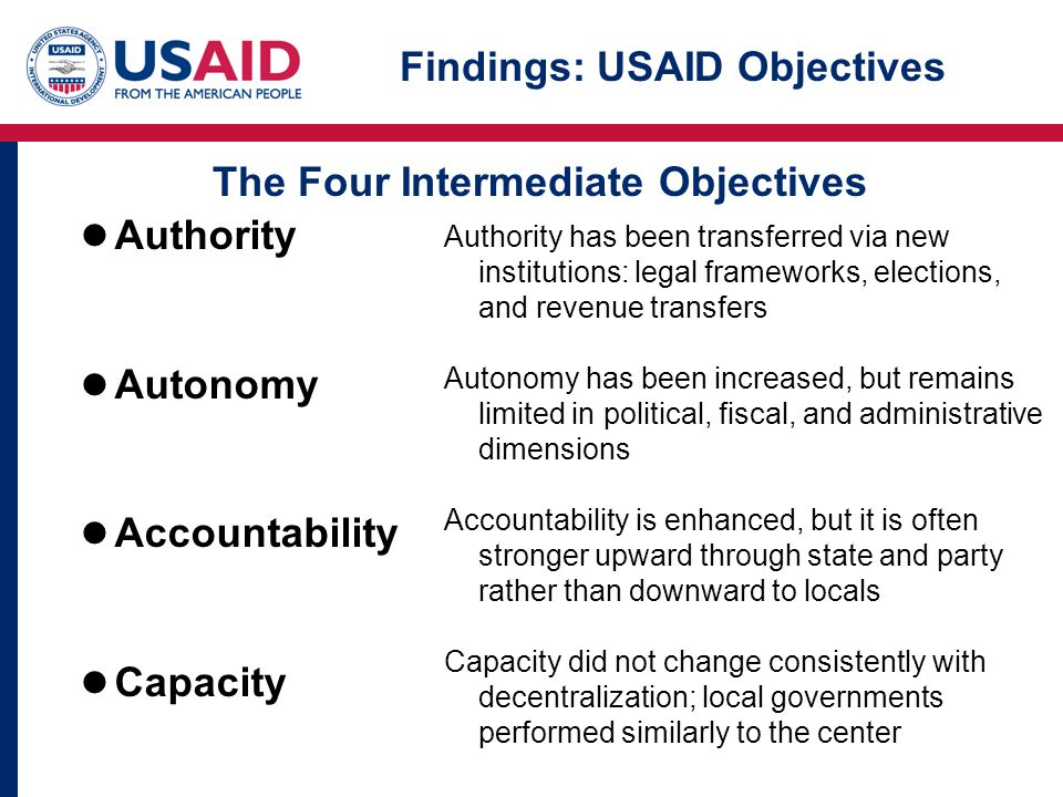 Findings: USAID Objectives Authority Autonomy Accountability Capacity Authority has been transferred via new institutions: legal frameworks, elections, and revenue transfers Autonomy has been increased, but remains limited in political, fiscal, and administrative dimensions Accountability is enhanced, but it is often stronger upward through state and party rather than downward to locals Capacity did not change consistently with decentralization; local governments performed similarly to the center The Four Intermediate Objectives